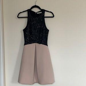 Halston Heritage Sequin Colorblock Dress w Pockets